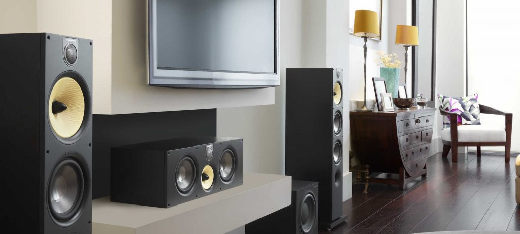 Front left right and center speaker in a home theatre installation